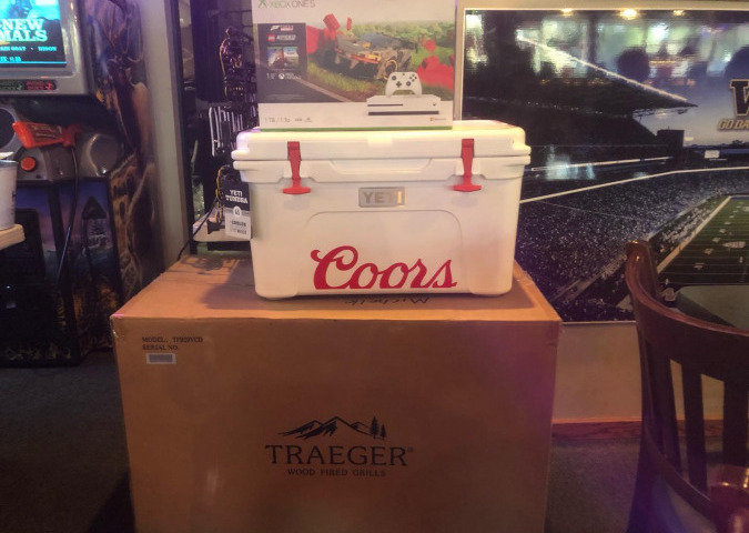 Coors cooler, traeger smoker, xbox raffle prizes
